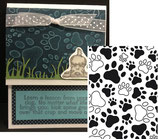 EMBOSSING FOLDER DARICE 1218-03 PAW PRINT BACKGROUND