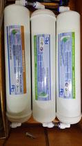 pack filtros de osmosis 2x carbon activo 1x sedimentos con conexiones tubo 6mm
