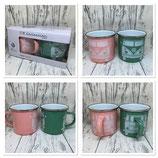 Emaille Tassen Set Rosa/Grün