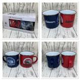 Emaille Tassen Set Blau/Rot