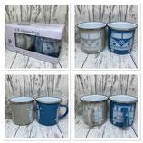 Emaille Tassen Set Blau/Grau