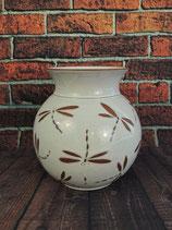 Bauchige Vase mit einkannelierten Libellen