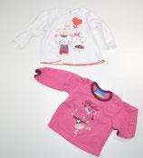 2 La-Shirts Gr. 62, rosa/weiß