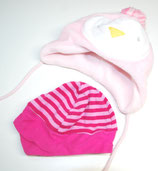 2 Babyhauben, rosa/pink gestreift