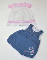 2 Kleider Gr. 74, Jeans/rosa/gestreift