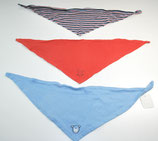 3 Dreieckstücherl, blau/orangerot/gestreift
