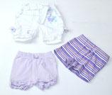 3 Shorts Gr. 62/68, weiß/lila/gestreift