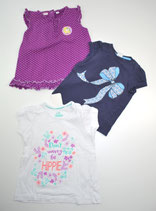 3 KA-Shirts Gr. 86/92, weiß/violett gepunktet