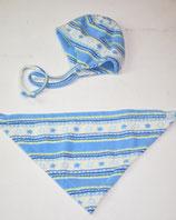 Fleecehaube Gr. 43-45 + Tücherl, blau gemustert