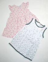 2 Sommerkleider Gr. 86, weiß/blau/rosa gemusert