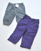 2 Hosen Gr. 68/6-12M, violett/grau