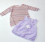 Nicki-Kleid lila + Longpulli gemustert Gr. 62/68