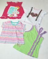 4 KA-Shirts Gr. 86/92, grün/gemustert/pink/weiß