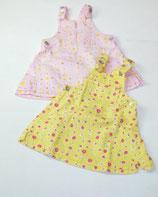 2 Kleider Gr. 74, gelb/rosa gemustert