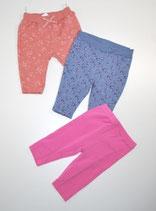 3 Hosen Gr. 62, rosa & blau gemusert/pink