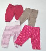 4 Hosen Gr. 62/68, pink/braun/gemustert/gestreift