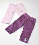 2 Nicki-Hosen Gr. 74/80, rosa/violett
