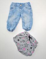 3/4 Jeans + Short grau gemustert Gr. 104