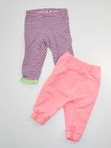 2 Hosen Gr. 62/68, rosa gestreift/gemustert