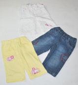 3 Hosen Gr. 68, Jeans/gelb/weiß