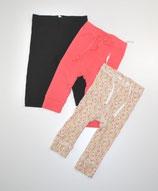 3 Leggings Gr. 62, gemustert/schwarz/pink