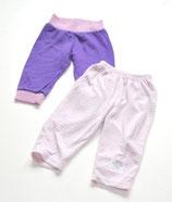 Jogginghose violett + Nickihose gestreift Gr. 68