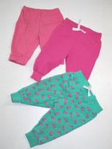 3 Jogginghosen Gr. 62/68, pink/türkis gemustert