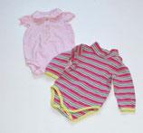 2 Bodys Gr. 62/68, pink gestreift/rosa