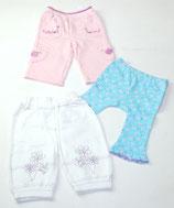 3 Hosen Gr. 62, rosa/gemustert/weiß