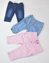 3 Hosen Gr. 62, blau/gemustert/rosa