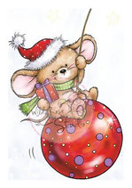 Wild Rose Studio Stempelset Mouse on Bauble - Maus auf Weihnachtskugel