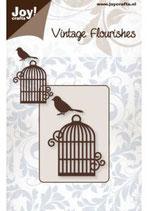 Vintage Flourishes Vogelkäfig und Vogel