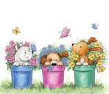Wild Rose Studio's A7 stamp set - Dogs in Pots