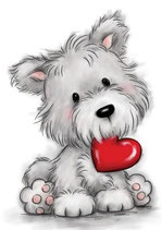 Wild Rose Studio's A7 stamp set - Dog with heart