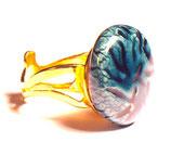 Bague anneau or Pierre ronde avec inrustation couleur outre mer