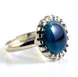 Bague couleur Saphir, anneau argent