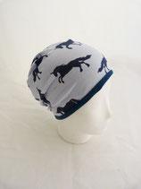 Wendebeanie Pferd blau