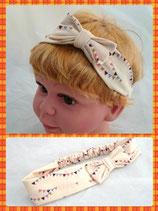 Haarband beige Dreieck mit Schleife