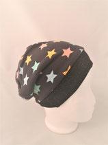 Beanie anthrazit mit Sterne in Pastellfarben
