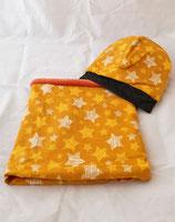 Beanie und Loop im Set gelb/orange Sterne Glitzer, gefüttert