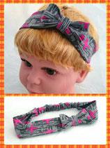 Haarband grau Kreuze mit Schleife