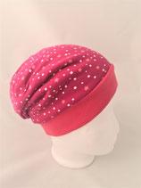 Beanie pink mit weißen Punkten und Sterne