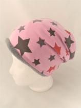 Beanie  rosa mit grauen und roten Sternen
