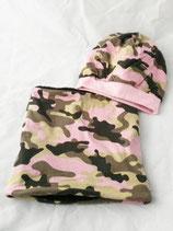 Beanie und Loop Camouflage rosa  gefüttert