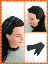 Haarband zum knoten schwarz Punkte