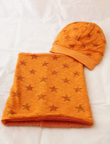 Beanie und Loop im Set orange Sterne  gefüttert