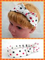 Haarband weiß Punkte mit Schleife