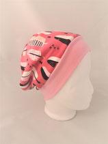 Beanie  rosa mit Federn