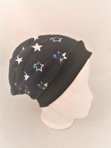 Beanie  dunkelblau mit weißen Sternen