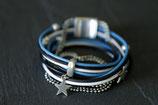 Multiliens de cuir - Collection Clem Bleu électrique